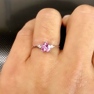 Jewelry - 925 Sterling Silver Heart Cz Pink Ring.